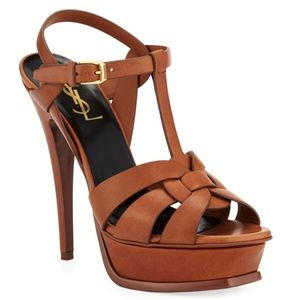 NEW Saint Laurent Leather Tan Platform Heels
